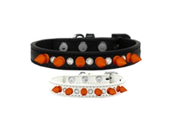 Crystal and Neon Orange Spikes Dog Collar