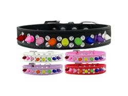 Double Crystal with Rainbow Spikes Dog Collar