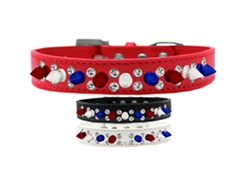 Patriotic Double Crystal with Red, White and Blue Spikes Dog Collar