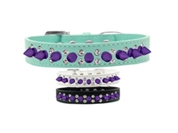 Double Crystal and Purple Spikes Dog Collar