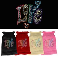 Technicolor Love Rhinestone Knit Pet