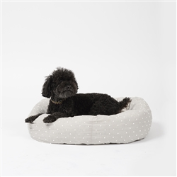 Woven Dot Round Snuggler Dog Bed