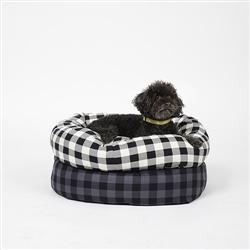 Buffalo Plaid Round Snuggler Dog Bed