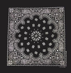 Grooming Salon Bandanas 12 Pack - Black Paisley