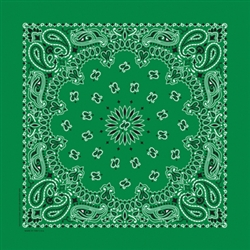 Grooming Salon Bandanas 12 Pack - Kelly Green Paisley