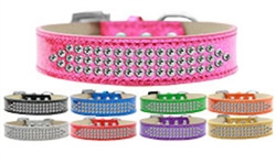 Three Row Clear Crystal Ice Cream Dog Collar