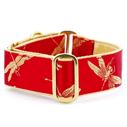 Dragonflies Red Satin Lined Collars