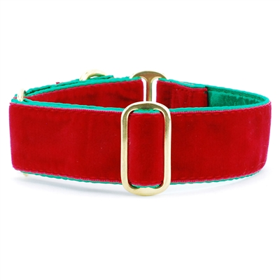 Holiday Red Velvet Satin Lined Collars & Leads