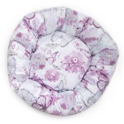 Purple Floral Cotton Fabric Round Pet Bed