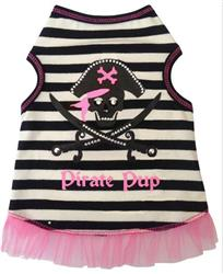 Pirate Pup Girl - Tank Dress - Black/White Striped
