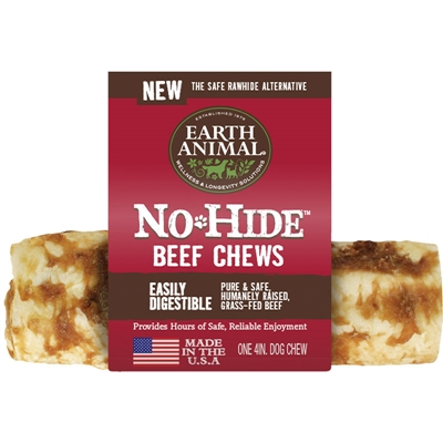 "Earth Animal No Hide Beef Chews Dog Treats, 4"" (24 counter box REFILL)"