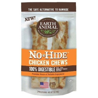 "Earth Animal No Hide Chicken Chews Dog Treats, 7"", 2 Pack"