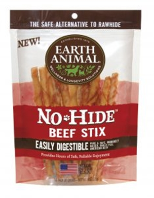 Earth Animal No Hide Beef Stix Dog Treats, 10 Pack