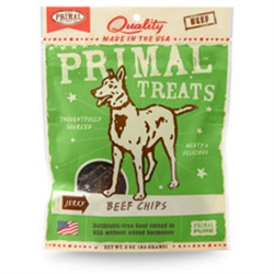 Primal Jerky Beef Chips Dog Treats 3 oz