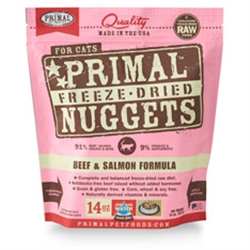 Primal Pet Foods Freeze Dried Food For Cats 14 oz - Beef Salmon