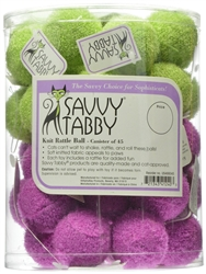 SAVVY TABBY Knit Rattle Balls Cat Toy - Display canister 45 ct