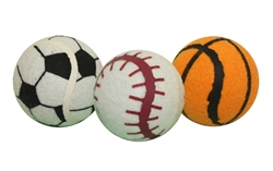 "MultiPet - 2.5"" Sports Balls - 3 pk. in Mesh Bag Soccer, Baseball, Basketball"