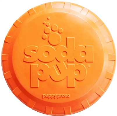 SodaPup - Natural Rubber Bottle Top Flyer - Dog Flying Disc - Fetch Toy - Orange - Made in USA
