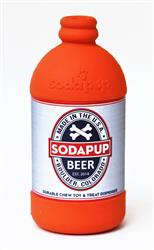 SodaPup Natural Rubber Beer Bottle Large Treat Dispenser  Slow Feeder Dog Chew Toy - Orange - Made in USA