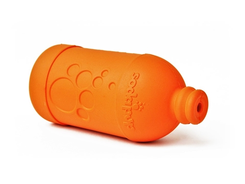 SodaPup - Natural Rubber Beer Bottle Large - Treat Dispenser - Slow Feeder - Dog Chew Toy - Orange - Made in USA