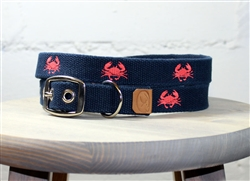 Crab Embroidered Dog Collar - Navy