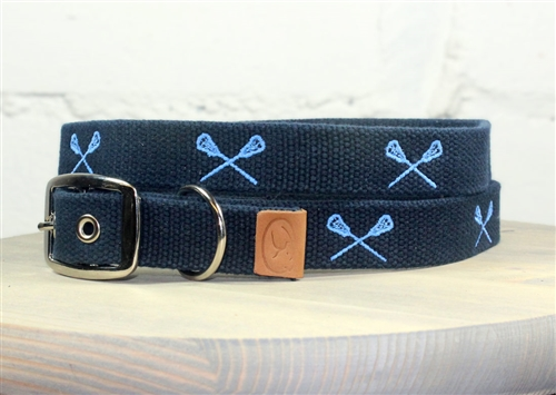 Lacrosse Sticks Embroidered Dog Collar - Navy