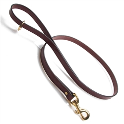 "Leather Snap Lead - Chestnut - 3/4"" w"