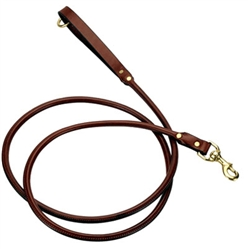 "Rolled Leather Snap Lead - Chestnut - 3/4"" w"