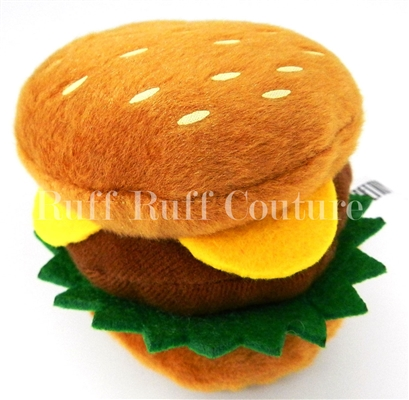 Cheese Burger Plush Toy with Squeaker by Ruff Ruff Couture®