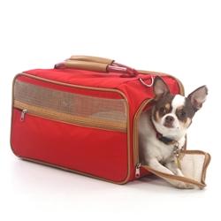 Bark-n-Bag Nylon Classic Pet Carrier - Red Nylon/Tan Trim
