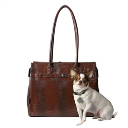 Embossed Patent Croco Monaco Tote in Chocolate