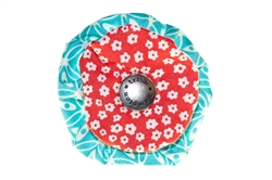 Blossom - Aqua/Red Floral
