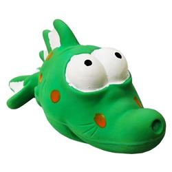 "7.25"" Bug Eyed Green Fish Premium Stuffed Latex Dog Toys"