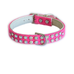 Charlotte Double Row Cotton/Vegan Leather Collar_Hot Pink
