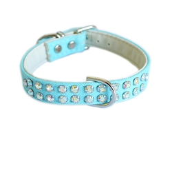 Charlotte Double Row Cotton/Vegan Leather Collar_Turquoise