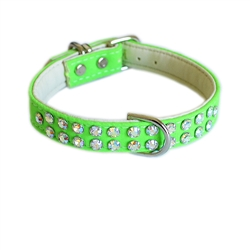 Charlotte Double Row Cotton/Vegan Leather Collar_Lime