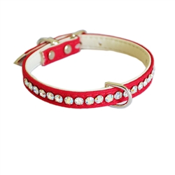 Jackie O Single Row Cotton/ Vegan Dog Collar  - Red