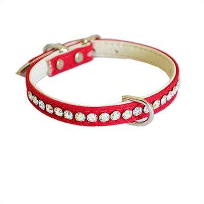 Jackie O Single Row Cotton/ Vegan Dog Collar  - Red