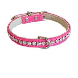 Jackie O Single Row Cotton/ Vegan Dog Collar  - Hot Pink