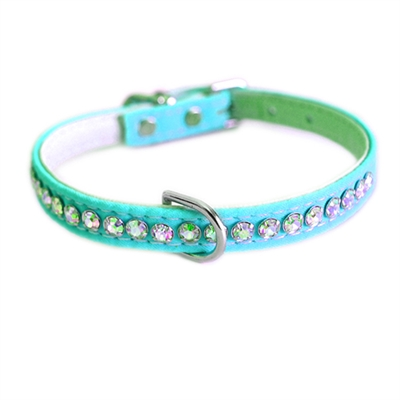 Jackie O Single Row Cotton/ Vegan Dog Collar  - Turquoise