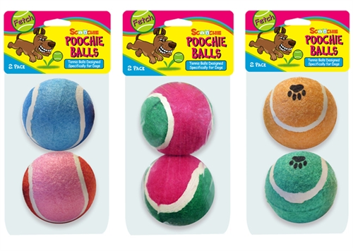 Assorted 2 Packs Scoochie Poochie Tennis Balls