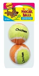 2 Pack Chicken Flavor Scoochie Poochie Tennis Balls