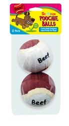 2 Pack Beef Flavor Scoochie Poochie Tennis Balls