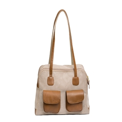 "Carrier | Beige & Brown Mesh ""See Through"" Carrier w/ Leather Trim"