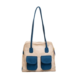 "Carrier | Beige Mesh ""See Through""  Carrier w/ Navy Canvas Trim"