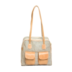 "Carrier | Beige Multi Color ""See Through"" Mesh Carrier w/ Leather Trim"