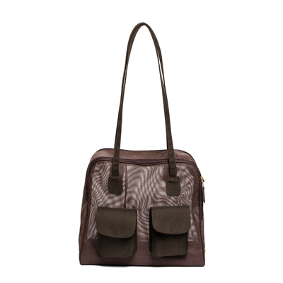 "Carrier | Brown Mesh ""See Through"" Carrier w/ Canvas Trim"