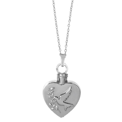 Heart Dove Keepsake Pendant