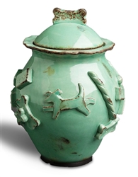 Dog Treat Jar - Aqua/Green