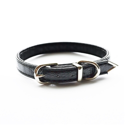 Jackie O Single Row Vegan Dog Collar  - Black Piuma Snake